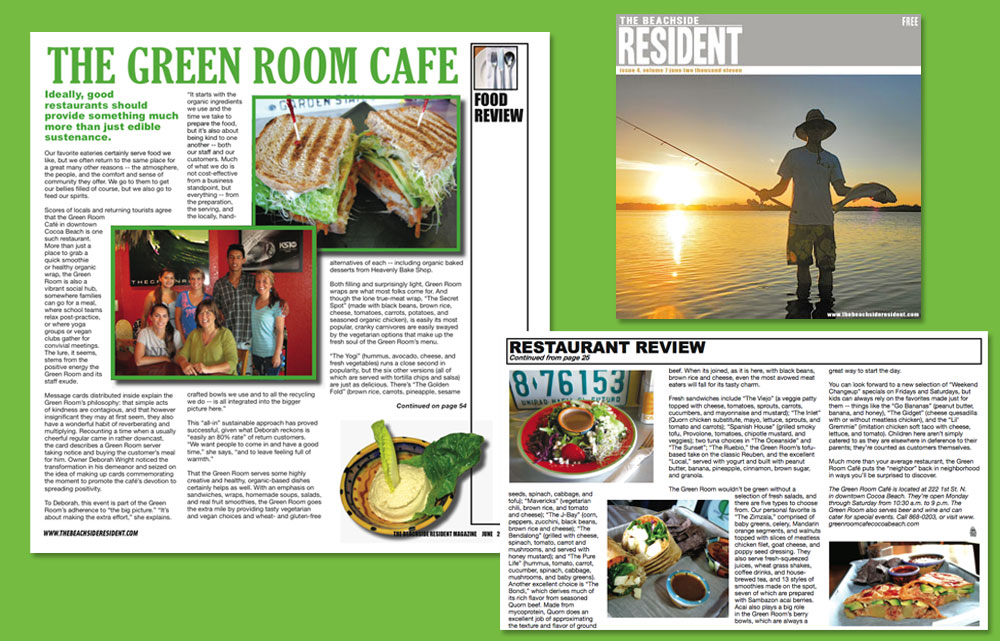 Beachside Resident Magazine Green Room Cafe Cocoa Beach